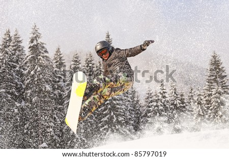 Jumps on mountain skis