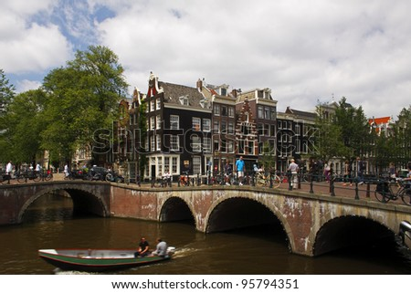 Junction of Keizersgracht and Leliegracht in Amsterdam in the Netherlands in Europe.