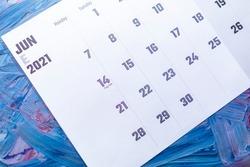 June 2021 calendar. June monthly calendar on blue background