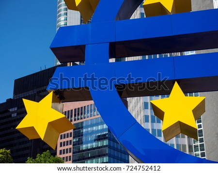 June 24, 2017. Close-up detail of a part of the Euro sign sculpture in front of the Eurotower. Innenstadt, Frankfurt, Germany. Editorial and finance editorial concept.