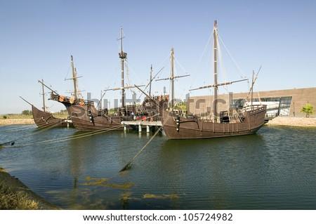 JUNE 2006 - Full size replicas of Christopher Columbus' ships, the Santa Maria, the Pinta or the NinÂ?Â?a at Muelle de las Carabelas,