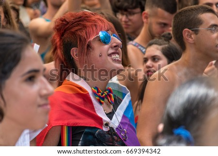 June 30, 2017. Gan HaEm is a public garden in Haifa, Israel. Pride parade and a holiday of love, organized by the LGBT community with the mediation of city authorities. Enthusiastic spectators #669394342