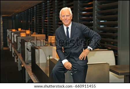 June 2015 - Giorgio Armani posed during the Milan fashion week