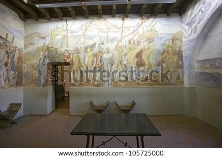 JUNE 2006 - Murals of Christopher Columbus' story were painted by Vazquez Diaz and displayed at the 15th-century Franciscan Monasterio de Santa Mar�a de la R�bida,