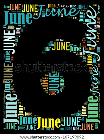 June text graphics composed in number 6 on black background