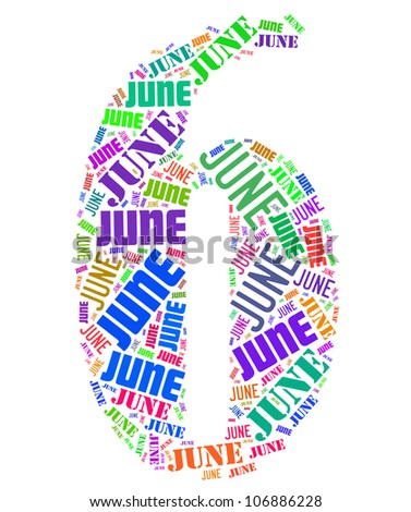 June text graphics composed in number 6 on white background