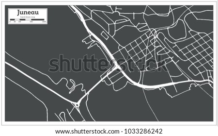 Juneau USA City Map in Retro Style. Outline Map.