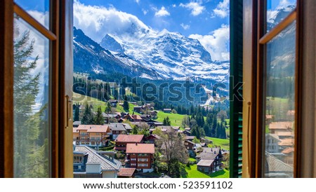 Jungfrau through the Window / Wengen in Switzerland #523591102