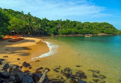 Jungle Beach on tropical coast indian ocean, Unawatuna, island Sri Lanka