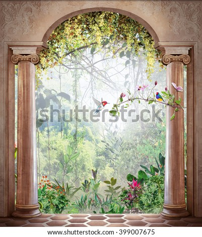 stock photo jungle in the arch 399007675 - Каталог — Фотообои «Балконы, арки»