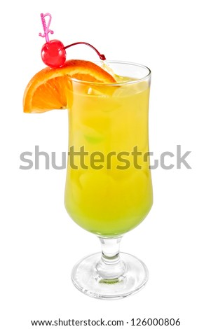 Jungle Juice cocktail isolated on white background