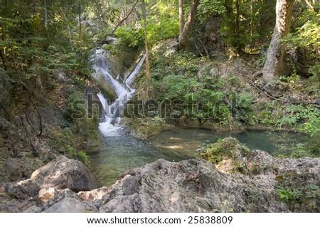 Jungle. Landscape. Waterfall.