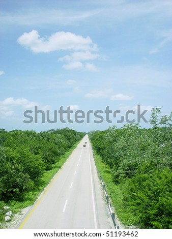 jungle road aerial view in central america mexico