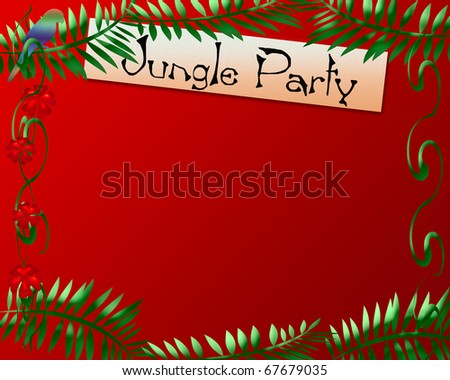 jungle theme red and green frame illustration