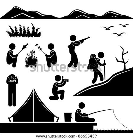 Jungle Trekking Hiking Camping Fishing Campfire Adventure People Icon Sign Symbol Pictogram
