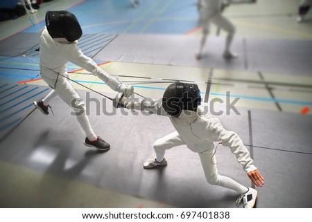 Junior Boys at fencing tournament, wide angle view #697401838