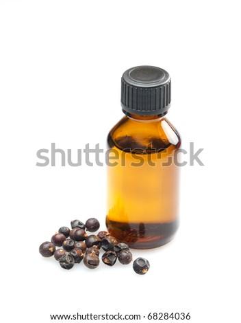 juniper oil isolated on white background