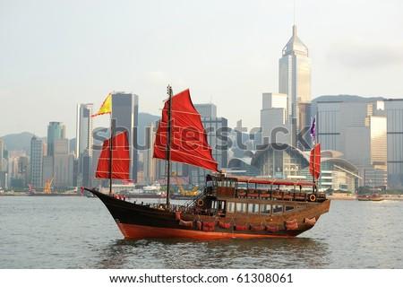 junk boat in Hong kong