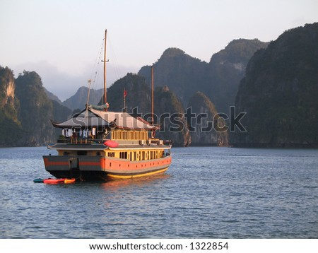 Junk cruise on Halong Bay, Vietnam - stock photo