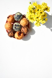 Junk food, delicious sweet muffin, tasty cup cake, top view, flat lay, white background, breakfast, confectionery, bakery, homemade, blue berry, chocolate, strawberry muffin, sugary treats, gourmet