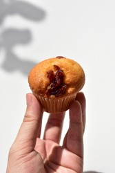 Junk food, delicious sweet muffin, tasty cup cake, white background, confectionery, bakery, homemade, strawberry jam muffin, sugary treats