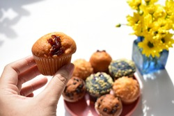 Junk food, delicious sweet muffin, tasty cup cake, white background, confectionery, bakery, homemade, sugary treats