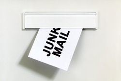 Junk mail or spam on letter being delivered through a letterbox concept for unsolicited mail or e-mail