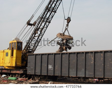 junk yard magnet and crane