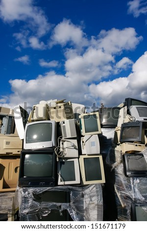 Junked crts computer monitors, tvs and old printers for recycling or safe disposal recycling, any logos and brand names have been removed. Great for recycle and environmental themes.