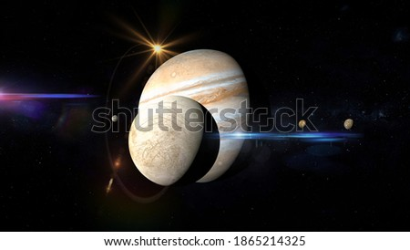 jupiter and moons retrograde with close up of europa 3d rendering illustration Stockfoto ©