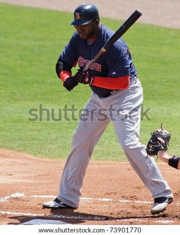 "JUPITER, FL USA - MAR. 24: Red Sox designated hitter David ""Big Papi"" Ortiz takes a pitch during the Boston Red Sox vs. Florida Marlins spring training game on March 24, 2010 in Jupiter, FL."