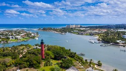 Jupiter Florida Lighthouse with ocean and sky background