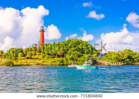 Jupiter, Florida, USA inlet and light house.