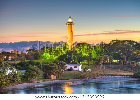 Jupiter, Florida, USA with Jupiter Inlet Light at dawn.