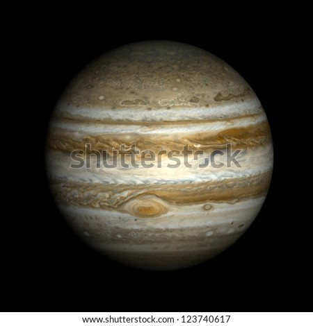 Jupiter, isolated on black. Elements of this image furnished by NASA.