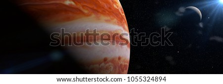 Jupiter's moon Europa and the planet Jupiter, largest in the solar system (3d illustration banner, elements of this image are furnished by NASA)