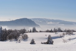 Jura Mountain in Winter, mont d or area , french slope