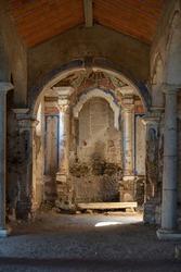 Juromenha abdandoned castle church interior in ruins in Alentejo, Portugal