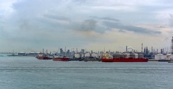 Jurong Island, the center for oil refineries and petrochemical industry, with tanker berths on all sides.