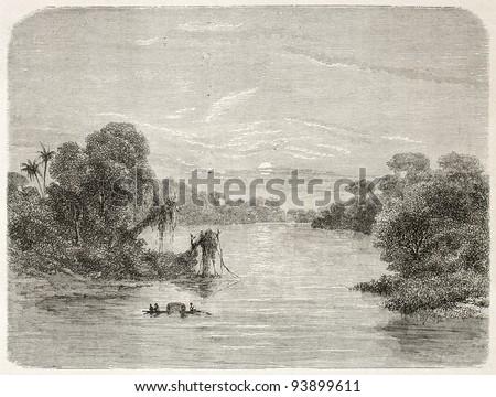 Jurua river confluence into Amazon. Created by Riou, published on Le Tour du Monde, Paris, 1867