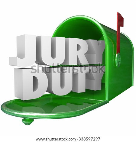 Jury Duty words in 3d white letters in a green metal mailbox to illustrate getting served notice of your legal responsibility or service as a citizen Foto stock ©