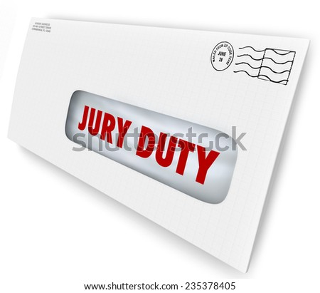 Jury Duty words on a letter in an envelope summoning you to appear in court to serve in judgment and render a legal judgment in a lawsuit or case Foto stock ©