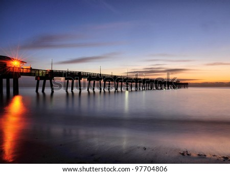 Just a Twinkle: Sunrise at the Dania Beach Pier near Ft Lauderdale, Florida