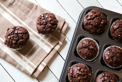 Just Baked Chocolate Muffins In Bakeware
