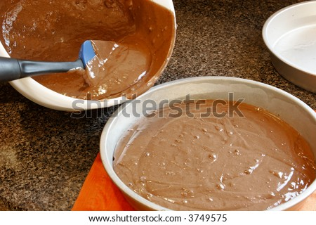 just made cake batter ready to pour in pan