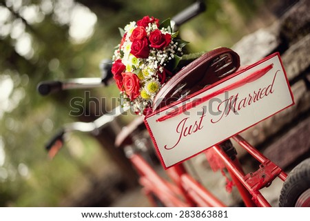 Just married - bike and flowers