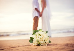 Just married couple holding hands on the beach, Hawaii Beach Wedding