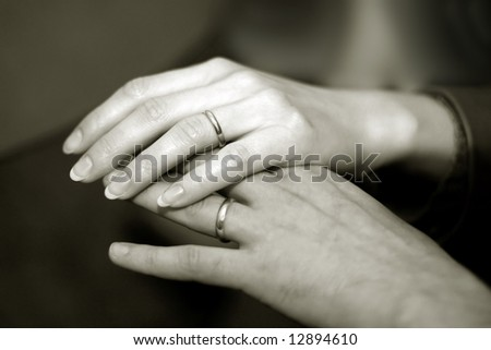 stock photo : Just married couple holding hands with wedding rings