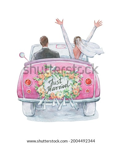 just married couple in a car watercolor art Photo stock ©