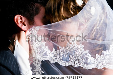 just married couple is kissing under veil